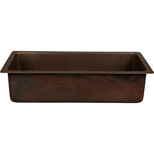Premier Copper Products BREC28DB 28-Inch Rectangle Hammered Copper Bar/Prep Sink with 3.5-Inch Drain - Prep Copper Rectangle Sink