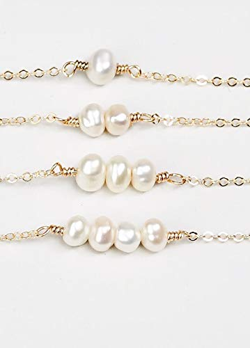 (Mother's Day Pearl Necklace 14K Gold filled chain white water-pearls)
