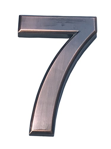 Do4U 1 Pack House & Mailbox Number 3D Radian Metal Number Self-stick Mailbox Number with Reflective Bronze Plating, For Door, House, Mailbox, Street Address Sign (2.8 inches, 7) (Decorative Metal Numbers)