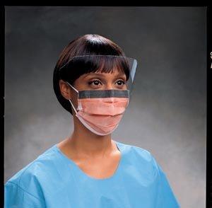 Halyard Fluidshield Fog-Free Procedure Mask with Earloops, Wraparound Visor, Orange 47147