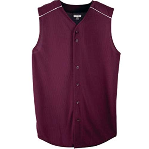 (Augusta Sportswear Wicking Sleeveless Button Front Jersey - Youth Style 588 - Maroon/White - Large)