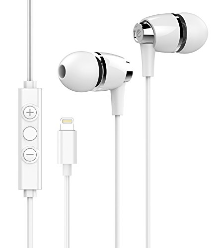 eeco Hi-Fi Lightning Earbuds MFi Certified with Metallic ABS build and iOS App, In-Ear Noise-Isolating Lightning Headphones with Remote and Mic for iPhone X, iPhone 8/7/6s/Plus, iPad Pro and more