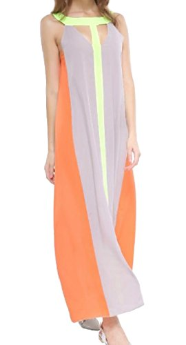 Patchwork 1 Style Maxi Color Sleeveless Women Long Hit Coolred Baggy Fashional Chiffon Dress qE87wfU