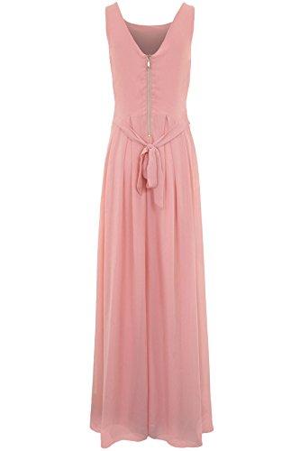 Maxi SAPPHIRE gefüttert BOUTIQUE Pink Rand Chiffon Damen hinten mit Abendkleid Schmuckstein Reißverschluss Chiffon pwpnqaRr