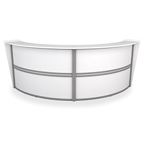 Pemberly Row Double Unit Curved Reception Desk in White by Pemberly Row