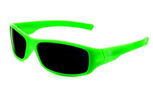 Polarized Gray Green - Kids Wraparound Sunglasses for Boys and Girls - Non Polarized Smoke Lenses With Gray Tint - Neon Green - by Optix 55