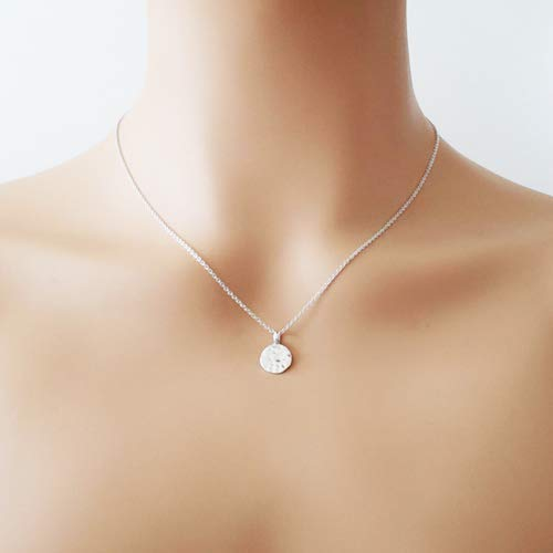 Sterling Silver Hammered Disc Necklace 16""