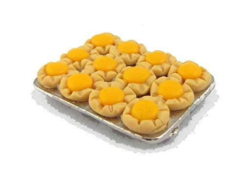 (MUFFIN LODGE Dolls House Miniature Kitchen Accessory Cake Baking Tray Lemon Curd Tarts)
