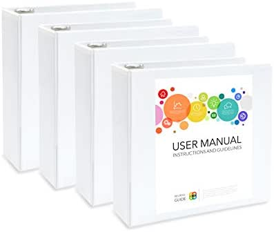 4 Pack 3 inch 3 Ring Binders, Rugged Heavy Duty Design for Home, Office, and School, Holds up to 625 Sheets of 8.5 Inch x 11 Inch Paper, White, 4 Binders