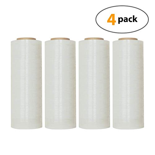 "18"" X 1500 Feet Industrial Strength Pallet Shrink Wrap, 8.25 Lbs Per Roll, 80 Gauge(20 Micron) Heavy Duty Self-Adhesive Stretch Film Wrap for Packing, Moving, Boxes, Pallets (4 Rolls) from Pro-Plastics"