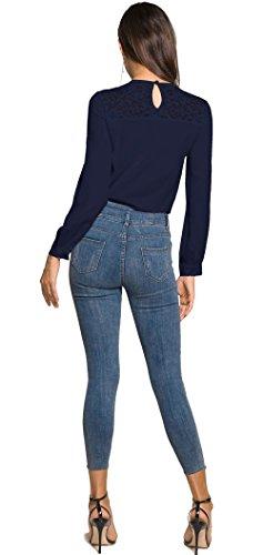 fashion Lunga Autunno Maglietta Maglie Cime Simple Rotondo Tops Scuro Collo Camicie Moda E Donne Pizzo Cucitura Casual Primavera Bluse Quotidiani Blu A Manica UdPw5qPSx