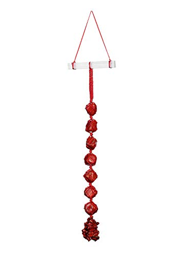 Top Plaza Natural Gemstones Reiki Healing Crystals Hanging Ornament Home Indoor Decoration for Chakra Healing,Good Luck,Yoga Meditation,Protection - Red Jasper Tumbled Stones with Selenite Bar