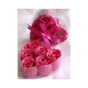 Fuchsia Rose Petal Soaps - 2 BOXES (6 rose soaps per box) - Fuchsia Rose