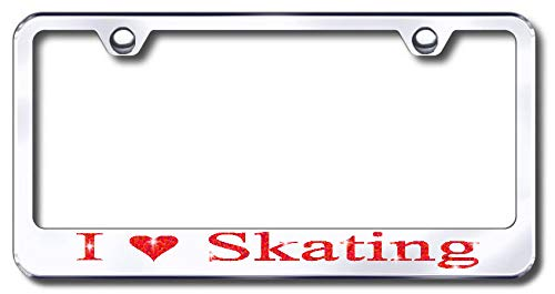Aluminum I Love Skating Climbing Design License Plate Frame with Swarovski Crystal Bling Diamond (Silver License Plate, Red Crystals) -  Simply Infinite Productions