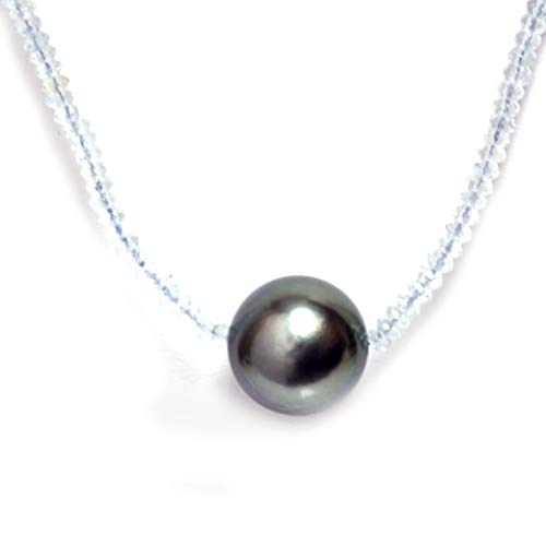 (Tahitian South Sea Pearl Aquamarine Solitaire Necklace 11.5 MM AAA 18k Solid White Gold)
