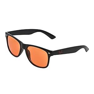OX Legacy Blue Light Filter UV Blocking Glasses, Better Sleep Vintage Orange Lens, Unisex Thin Square Anti-Glare 55mm Black Wayfarer Frame Computer Eyewear