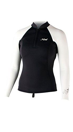 Xcel Women's SLX 2/1mm Front Zip Long Sleeve Top, Black/White, 4