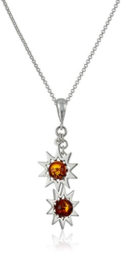 Amber Sterling Silver Sun Pendant Necklace, 18