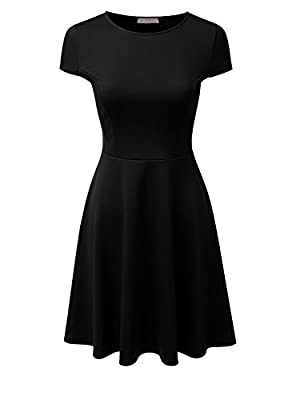 Doublju Stretchy Flared Midi Skater Dress (Plus size available / Made In USA)
