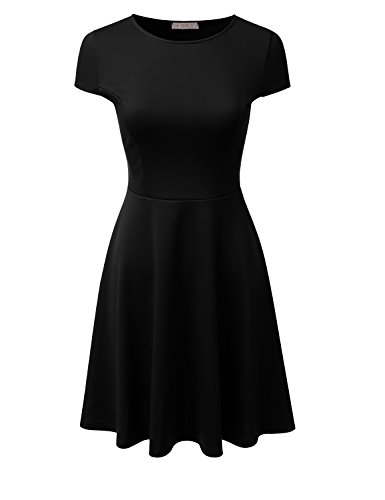 Doublju Stretchy Flared Midi Skater Dress (Plus size available / Made In USA) BLACK LARGE