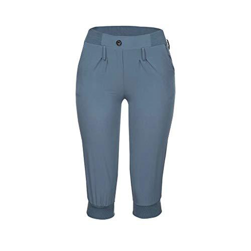 wodceeke Women's Elastic Waist Casual Comfy Cotton Linen Beach Wide Leg Shorts with Drawstring(L,Blue) ()