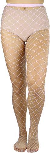 ToBeInStyle Women's Diamond Net Spandex Pantyhose - BABY PINK - -