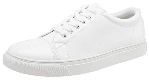 VOSTEY Men's Casual Shoes Business Fashion Sneakers for Men (9.5,White)