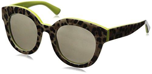 D&G Dolce & Gabbana Women's 0DG4235 Round Sunglasses,Top Leopard/Yellow,49 - Glasses D&g Optical
