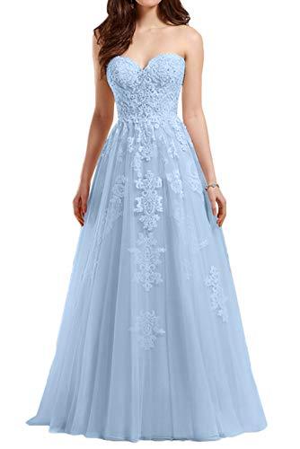 Brautkleider Blau Hochzeitskleider Lang Himmel Linie A Rock Marie Romantisch Spitze Brautmode Weiss Braut Traegerlos La wTzY0x6qOn