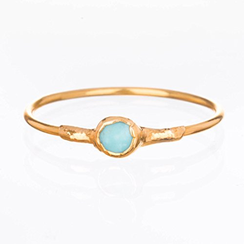 Gemstone Six (Dainty Turquoise Ring, Yellow Gold, Size 6, Raw Gemstone, Gold and Baby Blue Jewelry)