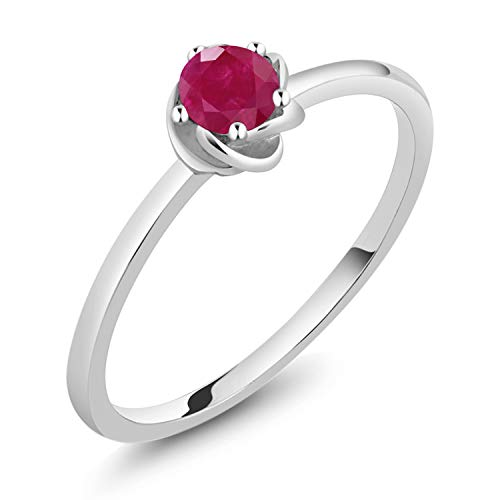 Gem Stone King 10K White Gold Red Ruby Solitaire Engagement Ring 0.22 Ct Round (Size 7)