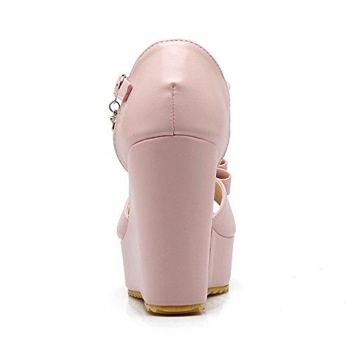 Amoonyfashion Kvinna Peep Toe Höga Klackar Mjuka Material Fasta Spänne Sandaler Rosa