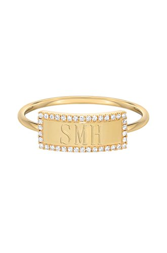 Diamond nameplate ring by Zoe Lev Jewelry