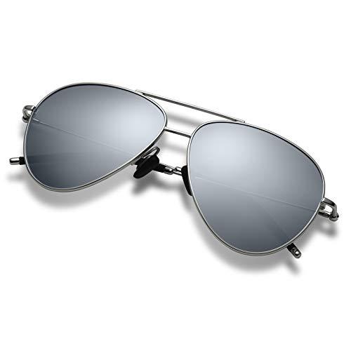 Hisea Premium Military Style Classic Aviator Sunglasses, Polarized, 100% UV Protection