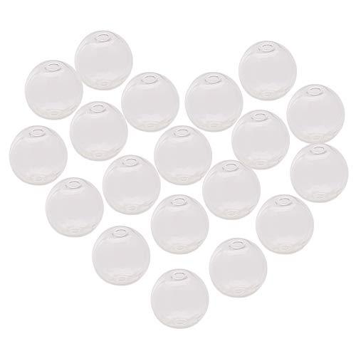 "PandaHall Elite 50Pcs 16mm(0.6"") Clear Handmade Round Blown Globe Wish Glass Ball Bottles DIY Memory Lockets Pendant Charm Craft for Earring Pendant Jewelry Making"