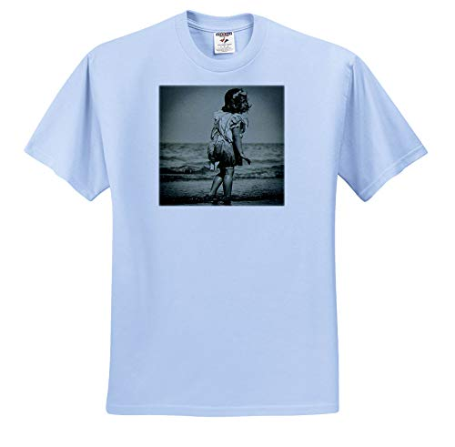 Scenes from The Past - Magic Lantern - Vintage Little Girl at The Beach Victorian Era Circa 1890s - T-Shirts - Toddler Light-Blue-T-Shirt (4T) (ts_301269_65)