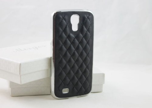 Samsung Galaxy S4 Case, Luxurious Quilted Pattern Lamb Skin Leather Chrome Case for Samsung Galaxy S4 S IV I9500 (Black)