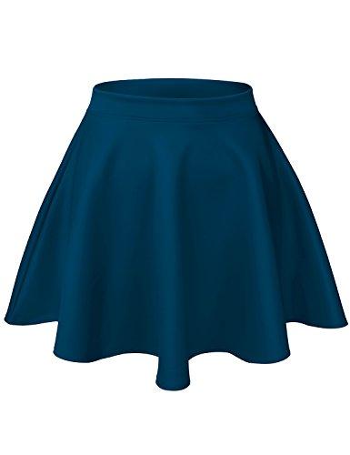 Luna Flower Women's Basic Versatile Stretchy Flared Casual Mini Skater Skirt Teal Large (GSKW001)
