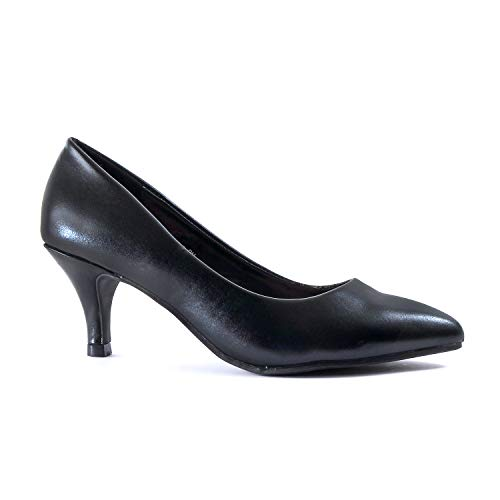 Guilty Heart | Womens Classic Pointy Toe Low Kitten Heel | Office Dress Slip On Fashion Pump | 22 Colors (6.5 M US, Black Pu)
