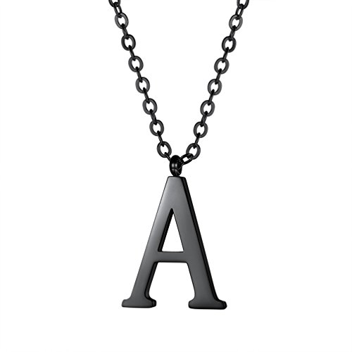 PROSTEEL Black Letter Necklace Alphabet Name Jewelry Men Women Personalized Groomsman Bridesmaid Wedding Minimalist Initial A Pendant Chain Gift