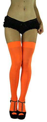 ToBeInStyle Women's Long Schoolgirl Stockings, Neon Orange, (One Size Fits Most) by ToBeInStyle