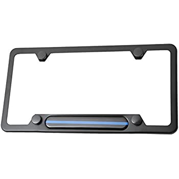 Amazon.com: Stainless Steel License Plate Frame Black 4 holes (Thin ...