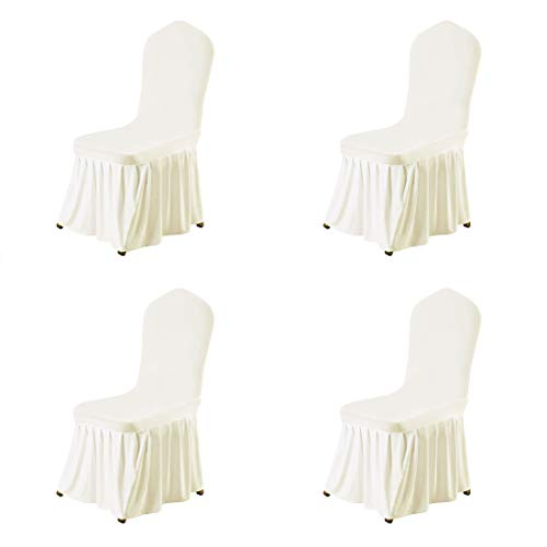 uxcell Stretch Spandex Round Top Dining Room Chair Covers Long Ruffled Skirt Slipcovers for Shorty Chair Seat Covers Beige 4pcs (Round Dining Chair Room)