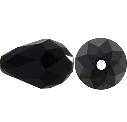 50pcs 10x8mm Adabele Austrian Teardrop Crystal Beads Jet Black Compatible with 5500 Swarovski Crystals Preciosa SST-1023