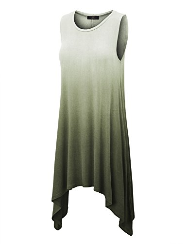 Ombre Scoop (Made By Johnny WT1141 Womens Ombre Scoop Neck Unbalanced Loose Fit Sleeveless Tunic Top L Olive)