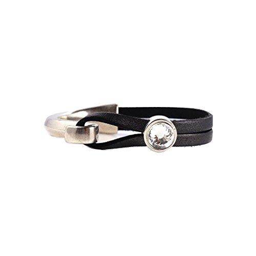Women's Gunmetal Leather Crystal Cuff Bracelet