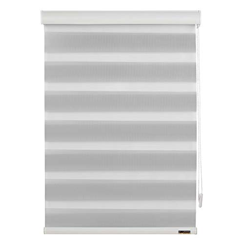 MUANNA Zebra Roller Blinds, Dual Layer Shades, Sheer or Privacy Light Control, Day and Night Window Drapes, Custom Size, Light Grey, W:15.7-24 inch x H:36-48 inch
