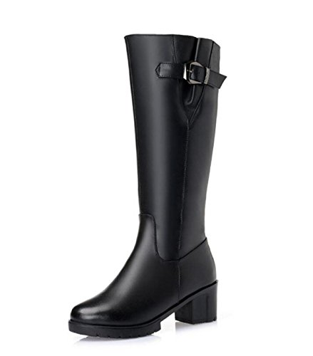 Stretch JWQWQ Casual Heel Low Riding Black Calf Boots Zip Knee Ladies Womens Flat High Prwrtq0