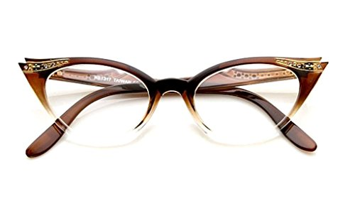 AStyles - Vintage Cateyes 80s Inspired Fashion Clear Lens Cat Eye Glasses with Rhinestones (Brown-Fade, Clear) -