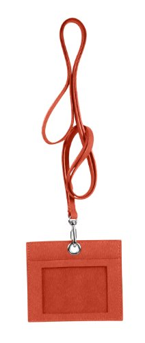 LUCRIN - Horizontal Badge holder with strap - Smooth Lamb - Leather, Rust